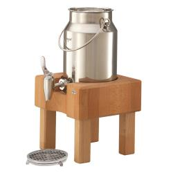 GET Enterprises - RMC030X004 - 3 1/5 qt FRILICH Pure Nature™ Stainless Steel Milk Dispenser Set with Breech Wood Stand image