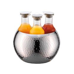 GET Enterprises - ESC036E003 - 3-Carafe FRILICH Carafine™ Hammered Stainless Steel Tub with 3 Plastic Carafes image