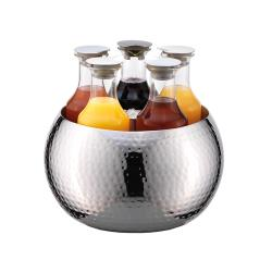 GET Enterprises - ESC060E003 - 5-Carafe FRILICH Carafine™ Hammered Stainless Steel Tub with 5 Plastic Carafes image