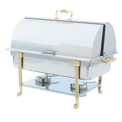 Vollrath - 46051 - Classic Brass 9 Qt Roll Top Rectangular Chafer image
