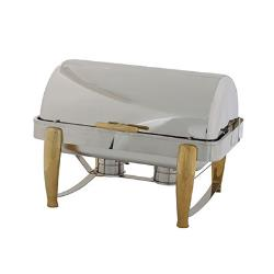 Winco - 101A - Virtuoso 8 qt Chafer with Gold Accents image