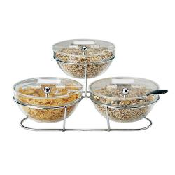 World Cuisine - 41442-23 - 3-Compartment Chrome Plated Stand w/Large Bowls image
