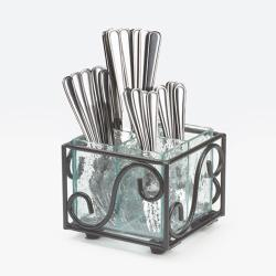 Cal-Mil - H350-13 - 4 Section Glass Flatware Holder image