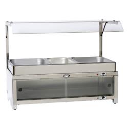 Cadco - CMLB-CSG - Warming Cabinet with Sneeze Guard and Buffet Server Top image
