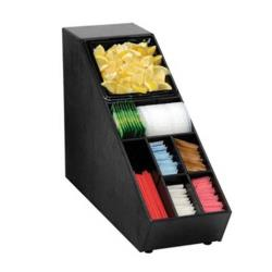 Dispense-Rite - NLO-SUB-1B - Narrow Countertop Lid, Straw And Condiment Organizer With 1/6 Size Pan image