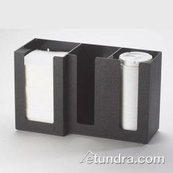 Cal-Mil - 375-13 - 3 Section Black Napkin and Lid Dispenser image