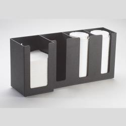 Cal-Mil - 376-13 - 4 Section Black Napkin and Lid Dispenser image