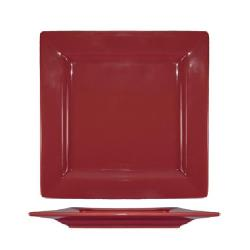 International Tableware - EL-10-RH - 10 3/4 in Elite Harvest Red Square Plate image