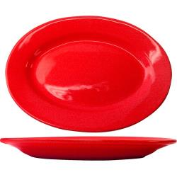 ITI - CA-14-CR - Cancun™ 12 1/2 in x 9 in Crimson Red Platter with Rolled edging image