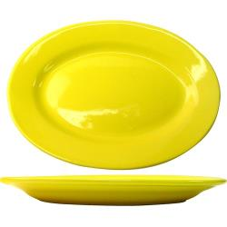 ITI - CA-14-Y - 12 1/2 in x 9 in Cancun™ Yellow Platter With Rolled Edging image