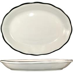 ITI - SY-12 - 9 7/8 in x 7 1/4 Platter With Scalloped Edge and Black Band image