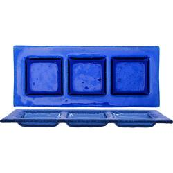 ITI - IGPB3-1525 - 15 3/4 in x 7 Arctic Glacier™ Blue Glass Three Compartment Plate image