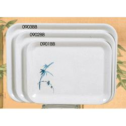 "Thunder Group - 0902BB - 15 1/4"" x 11 1/2"" Blue Bamboo Medium Tray image"
