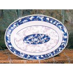 "Thunder Group - 2114DL - 14 1/8"" x 10 5/8"" Blue Dragon Oval Platter image"