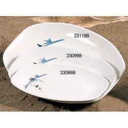 "Thunder Group - 2309BB - 9"" x 6 1/2"" Blue Bamboo Teriyaki Tray image"