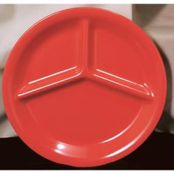 "Thunder Group - CR710PR - 10 1/4"" Pure Red 3-Compartment Plate image"