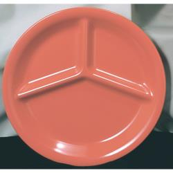 "Thunder Group - CR710RD - 10 1/4"" Red-Orange 3-Compartment Plate image"