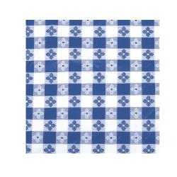 "Winco - TBCO-70B - 52"" x 70"" Blue Check Tablecloth image"