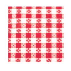 "Winco - TBCS-52R - 52"" x 52"" Red Check Tablecloth image"