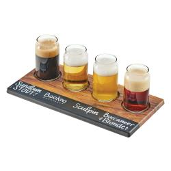Cal-Mil - 3570-47M - Write-On Faux Hickory Beer Flight Taster Board image