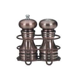 "Chef Specialties - 90055 - 5"" Burnished Copper Mill & Shaker Set w/ Rack image"