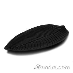 "World Cuisine - 44835B45 - 17 7/8"" x 9 1/2"" Black Melamine Leaf Dish image"