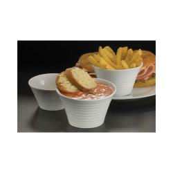 American Metalcraft - SBR85 - 8 1/2 oz Ribbed Porcelain Sauce Cup image