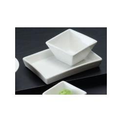 American Metalcraft - SCR20 - 2 oz Ribbed Square Porcelain Sauce Cup image