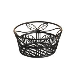 American Metalcraft - BLLB94 - Ironworks™ 9 in Round Leaf Wrought Iron Bread Basket image