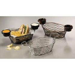 American Metalcraft - BNBC962 - Oblong Chrome Birdnest Basket w/Ramekin Holders image