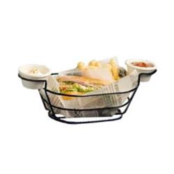 American Metalcraft - BSKB96 - Oblong Black Wire Basket w/Ramekin Holders image