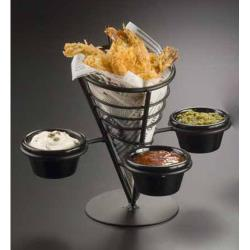 American Metalcraft - FBC93 - Black Wrought Iron Fry Basket w/3 Holders image