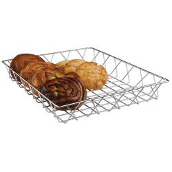 Espresso Supply - 80102 - 14 in x 12 in Silver Pastry Basket image