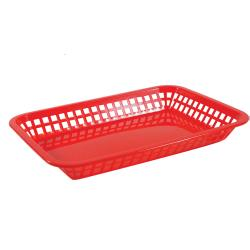 Tablecraft - 1079R - Rectangular Red Plastic Platter Baskets image