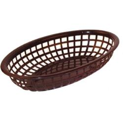Winco - PFB-10B - Oval Brown Fast Food Basket image