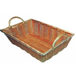 Winco - PWBN-16B - 16 in x 11 in Natural Woven Basket W/Handles image