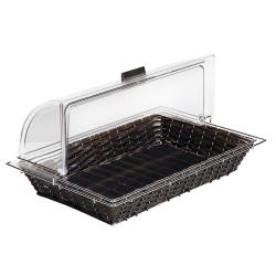 "World Cuisine - 42461-11 - 12 3/4"" x 20 7/8"" Black Polyrattan Bread Basket image"