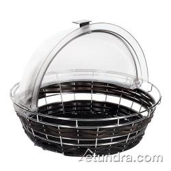 "World Cuisine - 42461-35 - 13 7/8"" Round Black Polyrattan Bread Basket image"