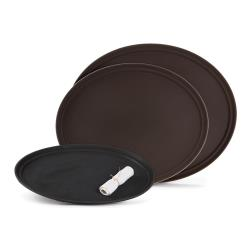 GET Enterprises - NS-2500-BR - 25 in x 20 in Oval Brown Serving Tray image