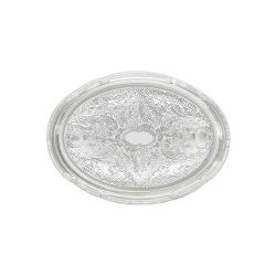 Winco - CMT-1014 - 14 3/4 in x 10 1/2 in Oval Chrome Serving Tray image