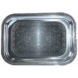 Winco - CMT-1812 - 18 in x 12 1/2 in Chrome Serving Tray image