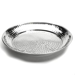 American Metalcraft - HMRST1301 - 13 1/2 in Round Hammered Stainless Steel Tray image