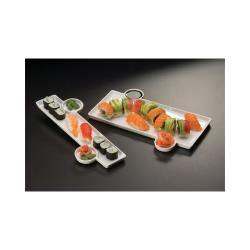 American Metalcraft - PORS140 - Prestige™ 13 in x 9 1/3 in Porcelain Tray w/(2) Sauce Cup image
