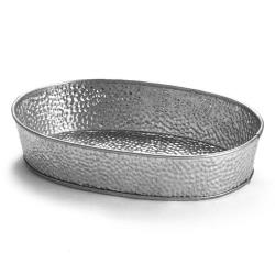 Tablecraft - GP96 - 9 1/2 in x 6 in Galvanized Steel Oval Dinner Platter image