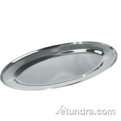 Winco - OPL-18 - 18 in x 11 1/2 in Oval Stainless Steel Platter image