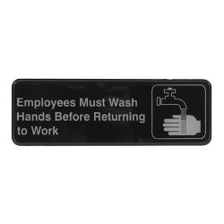 Winco - SGN-322 - 3 in x 9 in Employee Hand Wash Sign image