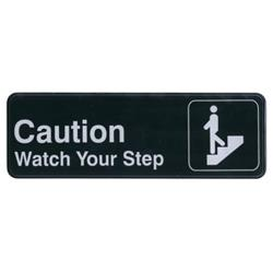 Winco - SGN-326 - 3 in x 9 in Caution/Watch Your Step Sign image