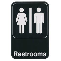 Winco - SGN-603 - 6 in x 9 in Restrooms Sign image