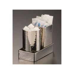 American Metalcraft - HMSPT3 - 4 1/4 in x 2 1/4 in Hammered Stainless Steel Sugar Packet Holder image
