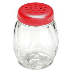 Tablecraft - P260RE - 6 oz Plastic Shaker w/ Red Lid image